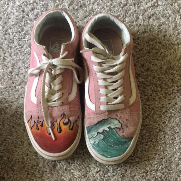 Vans Shoes | Pink Hand Painted Vans